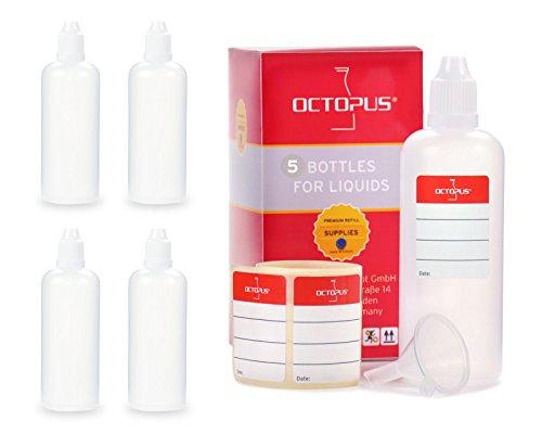 5x Bottigliette per liquidi 100 ml con imbuto, ad esempio per liquidi per sigarette elettroniche, bottiglie contagocce e dispenser a gocce + tappo scuro con sistema di sicurezza per bambini