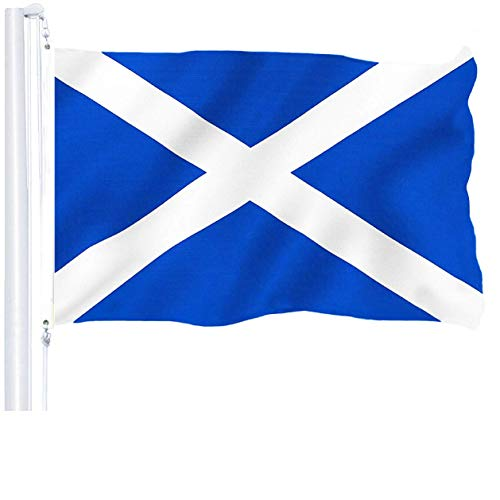 G128 – Scotland (Scottish) Flag | 3x5 feet | Printed 150D – Indoor/Outdoor, Vibrant Colors, Brass Grommets, Quality Polyester, US USA Flag, Much Thicker More Durable Than 100D 75D Polyester
