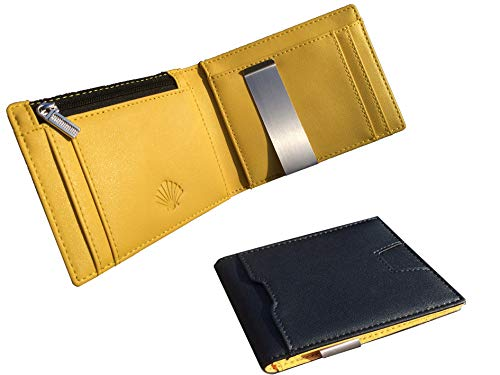 YellowWallet23 RFID Blocking - Cartera de Hombre Pequeña con Monedero Fina Horizontal Inteligente con Clip para Billetes Tarjetero Slim Tarjetas Billetero Utraslim Ultrafina - Negra y Amarilla - 10X8