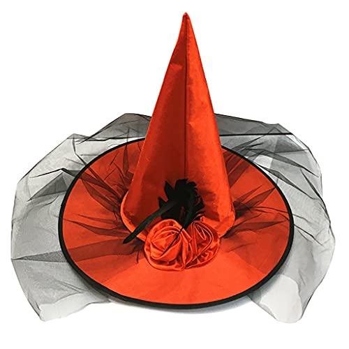 MYBOON Sombrero de Bruja Disfraz de Halloween Cosplay Accesorio de Bruja Malvada Adulto Talla nica Sombrero de Bruja Moderno Gorro de Punto de Halloween Sombrero de Bruja para Mujer Rojo