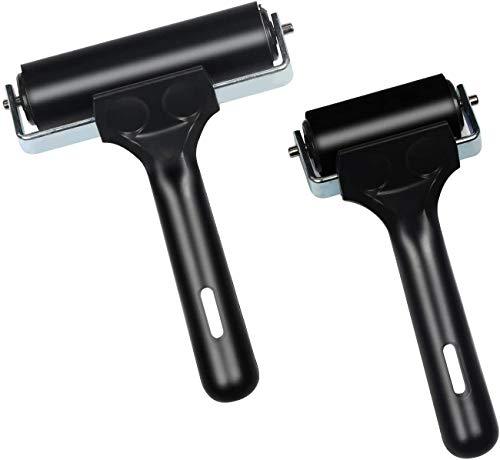 sansheng 2 PCS Rubber Roller Brayer - 2.2 and 4 Inch Brayer Roller - Used for Printmaking