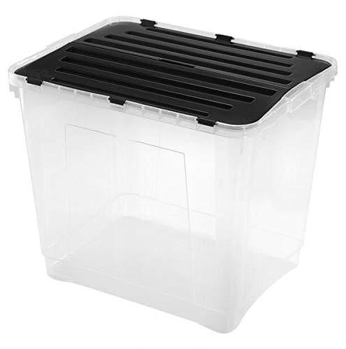 Heidrun 3 Stück Dragon Box 100 Liter - mit geteiltem Deckel - 59 x 46 x 50 cm - transparent/schwarz