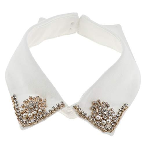 P Prettyia Cuello Falso de Camisa con Perlas de Imitación Extraíble para Pullover Vestido de Mujer - Blanco