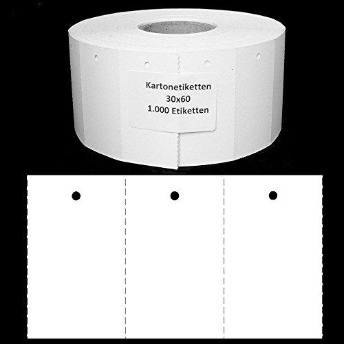 1.000 Endlosetiketten 30x60mm blanko Kartonetiketten mit 3mm Lochung auf Rolle Preisetiketten Hängeetiketten Etiketten