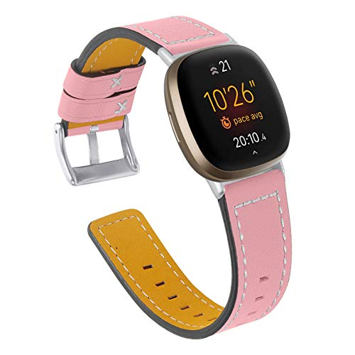 "YiMiky Uhrenarmband für Fitbit Versa 3, Echtleder Uhrenarmband Ersatzarmband für Damen Herren 5,5\""- 8,0\"" Zoll Armband für Fitbit Versa 3 / Sense (Rosa)"