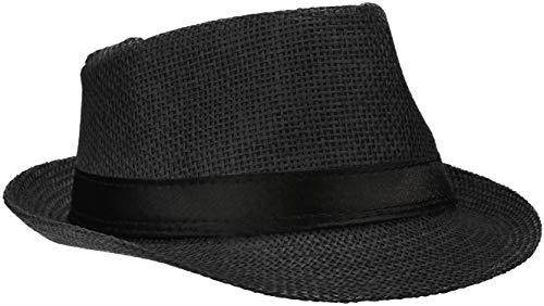 Wilhelm Sell® Strohhut Panama - Sonnenhut, Fedora Hut in schwarz mit schwarzem Stoffband (01 Stück - schwarz)