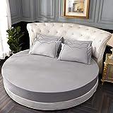 3 pezzi set lenzuola rotonde in cotone tinta unita set lenzuola rotonde set biancheria da letto coprimaterasso 200 cm 220 cm diametro 2.0 m grigio chiaro