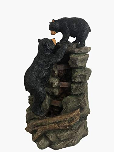 Alpine Corporation TZL178 Mom and Bear Cub Climbing Waterfall Fountain w/LED Lights, 36 Inch Tall, Brown