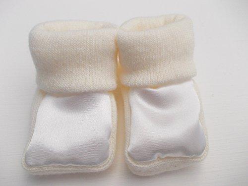 BNWT Bébé Fille Ou Garçon en Tricot Unisexe Chaussons 100% Acrylique Satiné Avant 0–3 m - Beige - Beige,