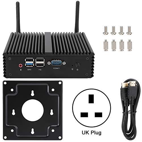 para Win7 4com Dual LAN Dual Band para Intel J1900 Quad-Core 300m All-Metal Mini Pc 100-240v (Reino Unido)