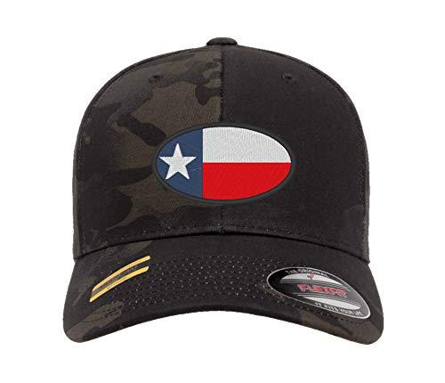 Baseballkappe mit Texas-Flagge, ovales Design, Flexfit Yupoong, Trucker-Hut Gr. Small, Multicam Schwarz