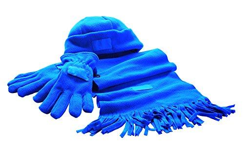 Echarpe + bonnet + gants-couleur : bleu-matériau : 100 % polyester