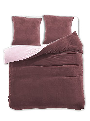DecoKing 200x220 cm Bettwäsche mit 2 Kissenbezügen 80x80 Mikrofaser Weich Warm Winter Kuschelig Bettbezug Bettwäschegarnitur braun beige Brown Furry
