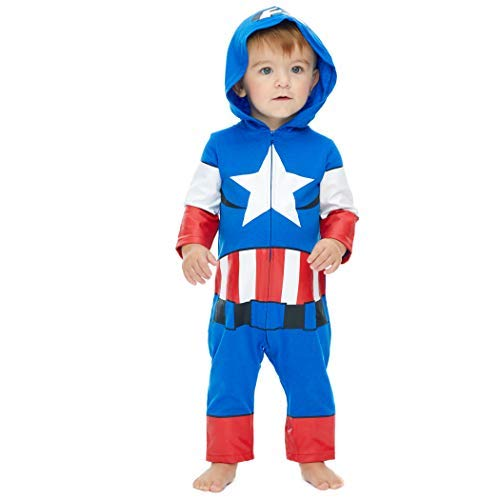 Marvel Avengers Captain America Baby Boys' Zip-Up Hooded Costume Coverall (3-6 Months)