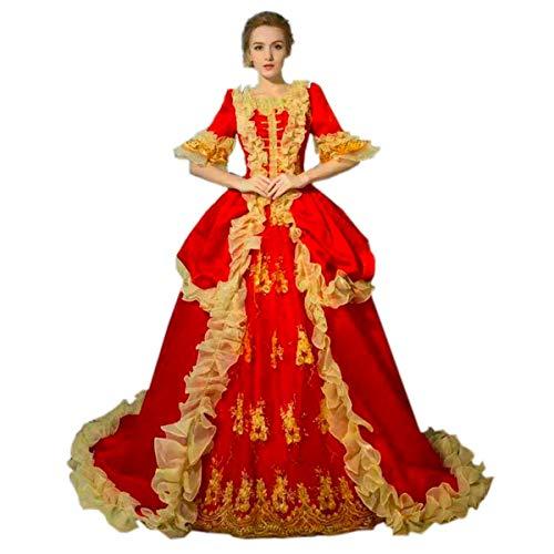 KEMAO - Vestido de noche estilo rococó, estilo barroco, estilo antoinette, vestido de fiesta del siglo XVIII, renacentista, vestido de fiesta