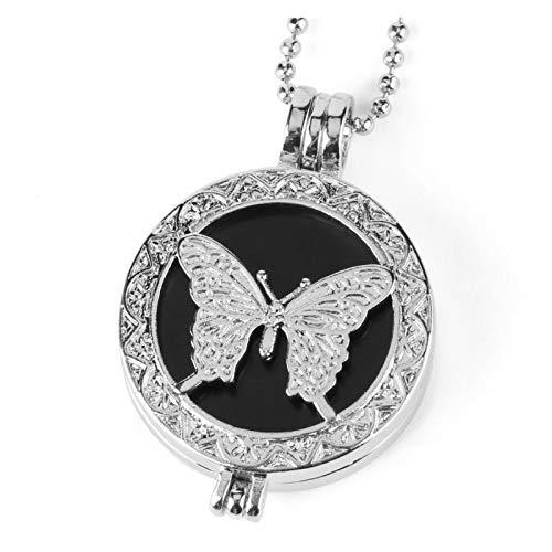 DERFX Piedra Natural Colgante Mariposa Hueco medallón Aromaterapia Aceites Esenciales Difusores Collares para Mujer Joyería Accesorios (Metal Color : Black Onyx Chain)