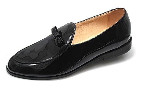 SMYTHE & DIGBY Men's Black Patent Leather Belgian Loafers (10.5)
