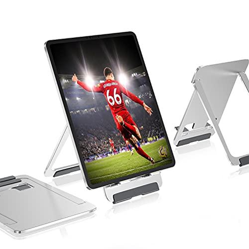 Newaner Tablet Holder Aluminium Support de téléphone portable pliable réglable, table, compatible avec iPad, MediaPad, Galaxy Tab, iPhone, autre tablette 5  -13 , Kindle, Smartphone 4  - 8 , argent