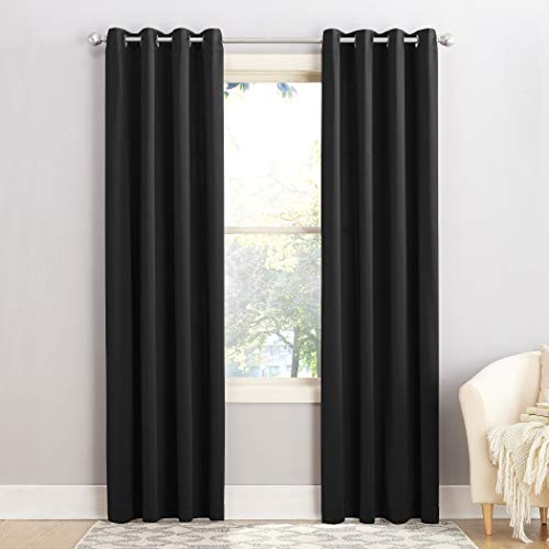 "Sun Zero Barrow Energy Efficient Grommet Curtain Panel, 54"" x 95"", Black"