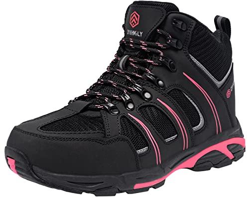 DKMILY DRY Botas de Seguridad Zapatos de Seguridad Impermeables Mujer Botas de Trabajo S3 SRC WR Puntera de Acero Calzado de Trabajo Zapatos de Construcción(Rosa,38)