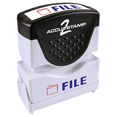"""ACCU-STAMP2 Message Stamp with Shutter, 2-Color, FILE, 1-5/8"""" x 1/2"""" Impression, Pre-Ink, Blue and Red Ink (035534)"""