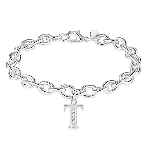 1 pulsera con letra T de plata con diamantes pequeños y delicados hechos a mano para el día de la madre