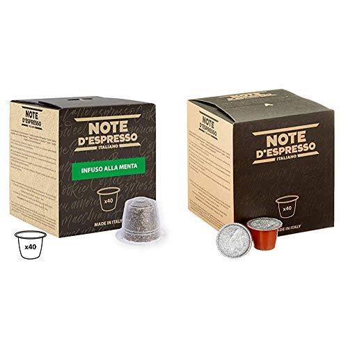 Note DEspresso - Capsulas de menta poleo exclusivamente compatibles con cafeteras Nespresso + Capsulas de manzanilla con miel y naranja, 6g (caja de 40 unidades)