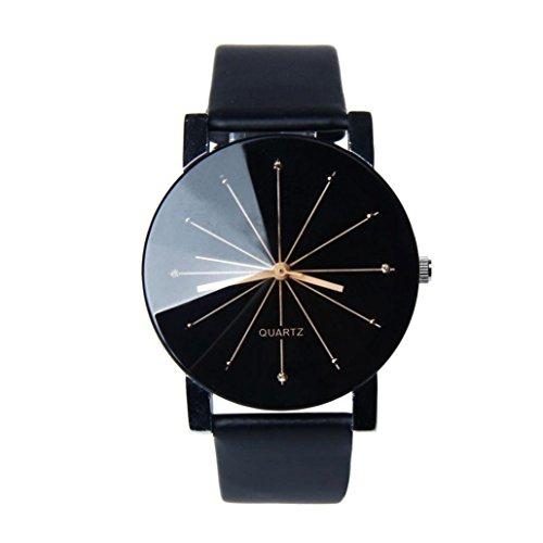 DOOPOO  uomini quarzo quadrante orologio in pelle orologio da polso rotondo Custodia nero (Nero)