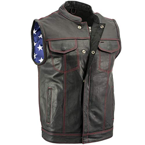 Xelement XS6665 Men's 'Old Glory' Leather Vest with Red Stitching and USA Inside Flag Lining - Large