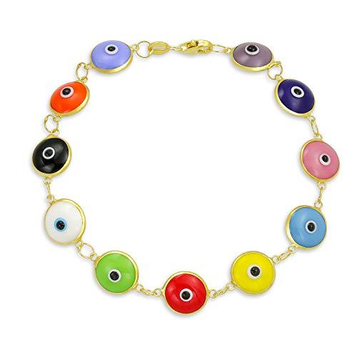 Colorido Turco Mal De Ojo Multicolor Pulsera De Vidrio Para La Mujer Protección Chapado En Oro De 14K 925