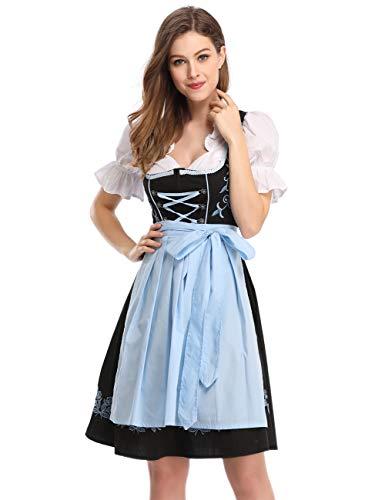GloryStar Womens German Dirndl Dress 3 Pieces Traditional Bavarian Oktoberfest Costumes for Halloween Carnival