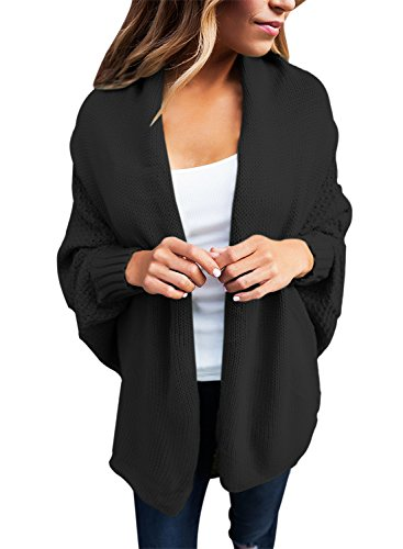GOSOPIN Damen Strickjacke Frauen Cardigan Loose Winter Lang Strickcardigan, Schwarz, L