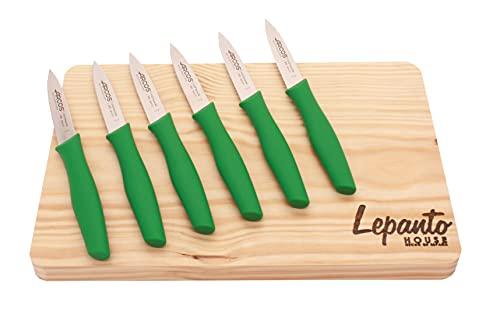 Tabla corte de madera 30x20 de regalo juego de cuchillos verdes para cocina arcos, Pack 6 cuchillos arcos de verdura con...