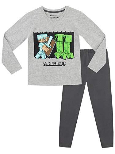 Minecraft Jungen Steve und Creeper Schlafanzug, Grau, 158 (Herstellergröße: 12 - 13 Jahre)
