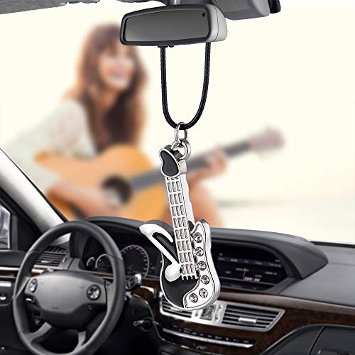 Various Car Pendant Metal Cool Poker With Coin Casino Lucky Football Guitar Kitty Cat Puppy Dog Closestool handcuffs Robot Ornaments Charms Rearview Mirro Decoration Hanging Home Decor (Guitar)