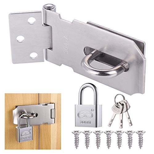 Door Latch Hasp with Door Padlock and Screws, Stainless Steel Door Lock for Garden Gate, Nondeformable Gate Lock for...