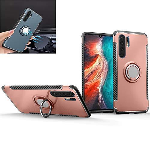 Beovtk Funda para Huawei P30 Pro Case,360 Grados Giratorio Finger Ring Holder [Montaje de Coche Magnético] Silicona antichoque TPU PC Cover,para Huawei P30 Pro Case (Oro Rosa)