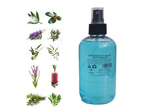 SPRAY ANTIVIRICO DESINFECTANTE 250ML 100% Natural 10 Aceites Esenciales. Limpiador Hidroalcohólico, piel, mascarillas, textil, superficies y aparatología