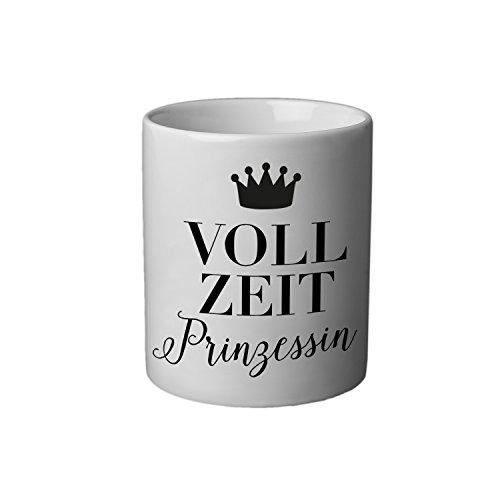 VISUAL STATEMENTS® Tasse - Becher mit Spruch; aus Keramik in weiß - eine lustige Kaffeetasse - spülmaschinenfeste Tasse; Teetasse; Becher für Heissgetränke - Coffee Cup - Vollzeitprinzessin