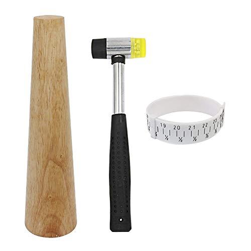 Holz-Armband Dorn rund Kunststoff Handgelenk-Größe mit Juwelierhammer, Gummihammer, Armreif, Werkzeug zur Schmuckherstellung