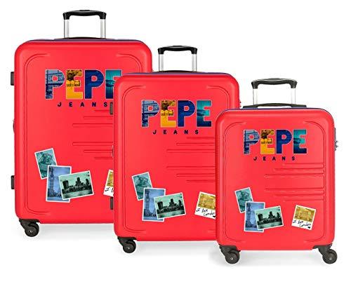Pepe Jeans Edison Juego de Maletas Rojo 55/69/79 cms Rígida ABS Cierre combinación 242L 4 Ruedas Equipaje de Mano