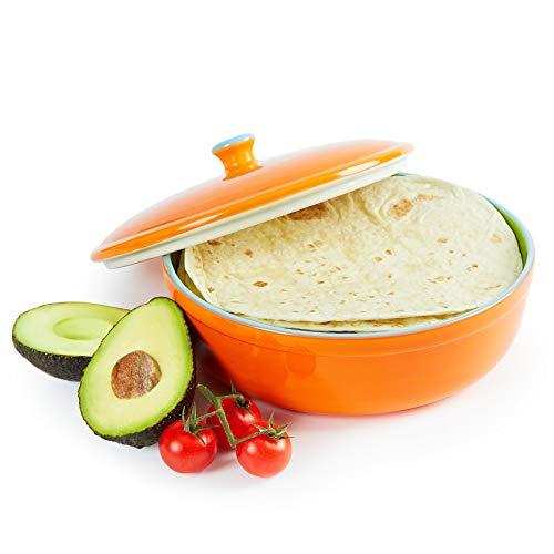 Uno Casa Keramik Tortilla Wärmer – Servieren Sie Tortillas zur Party oder Fiesta zu Hause - geeignet als Pfannkuchen und Chips Aufbewahung- sicher für den Einsatz in Mikrowelle und Ofen – 22cm