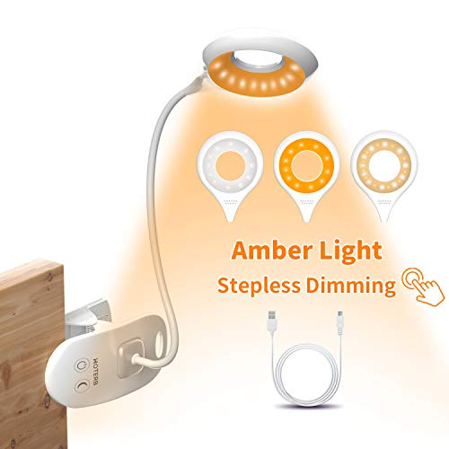 HOTERB Lámpara de Lectura, 22 LED Luz de Lectura con Luz de Noche 3 Modos Lámpara Pinza, Lampara LED USB Recargable 360° Flexible Lampara Libro Pinza Lámpara de Mesa para Laptop,Mesita de Noche