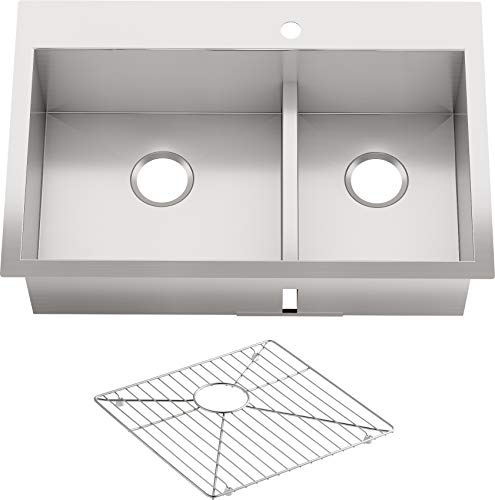 "KOHLER Vault 33"" Double-Bowl Offset 18-Gauge Stainless Steel Kitchen Sink with Smart Divide with Single Faucet Hole K-3838-1-NA Drop-in or Undermount Installation, 9 Inch Bowl"