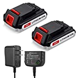 POWEREXTRA 2 Pack 3.6Ah Replacement Battery and Charger for Black+Decker LBXR20 LBXR20-OPE LB20 LBX20 LBX4020 LB2X4020-OPE, with 16V/20V Multiple Volt Output Lithium-Ion Battery Charger