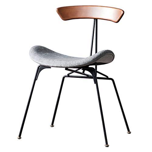 Salle à Manger créative Moderne/Chaise de côté en Fer Massif Tissu Chaise de Coussin en Bois Ergonomique rembourré siège accoudoir Chaise Style Industriel rétro