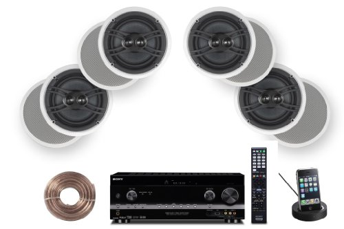 Sony HD Digital Cinematic Sound 770 Watts 7.1 Channel 3D A/V Receiver + Yamaha Custom Easy-to-Install Natural Sound in-Ceiling 3-Way 100 watts Speaker (Set of 4) with Dual Twee