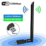 Penobon WiFi USB Adaptador, Antena WiFi USB Inalámbrico Dual Band 2.4G / 5.8G 802.11 AC WiFi Dongle con Antena de 5dBi Receptor Soporte Windows 10/8/8.1/7/Vista/XP/2000,Mac OS 10.4-10.12