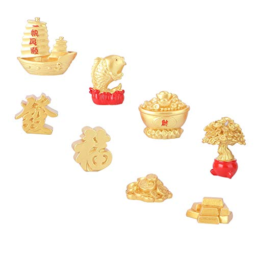Cabilock 8pcs 2021 Chinese Fortune Coins Feng Shui Coin New Year Gold Coin Ornaments Lucky Coins Charm Bonsai Fortune Money Tree for Luck Wealth Health to Friends Family Lover (Golden)