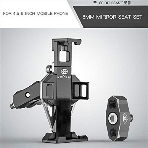 DishyKooker GSM-houder voor motorfiets, elektrische fiets, GPS-navigatiehouder Mirror seat 8MM Black silver